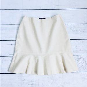 Ann Taylor petite cream ruffle skirt 00P